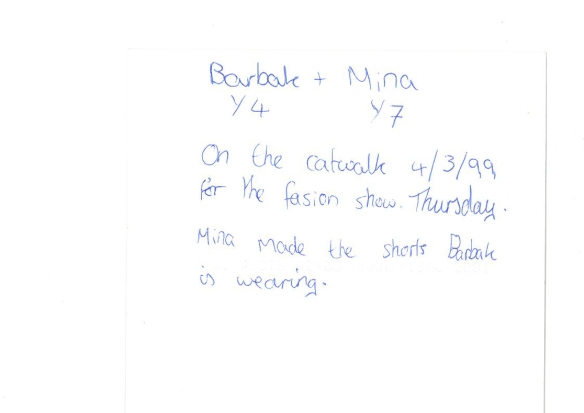 Mina's note back of Pic.